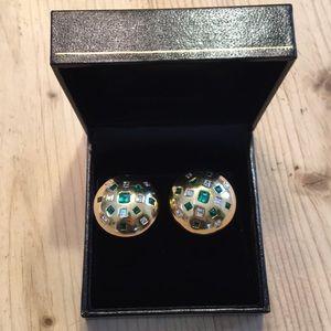 Jewelry - 18k gold, emerald, diamond earrings